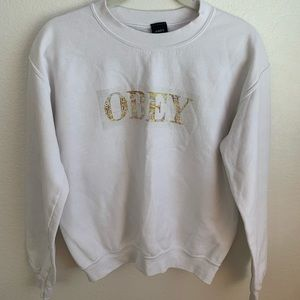 OBEY White Crew Neck Sweatshirt SIZE: S